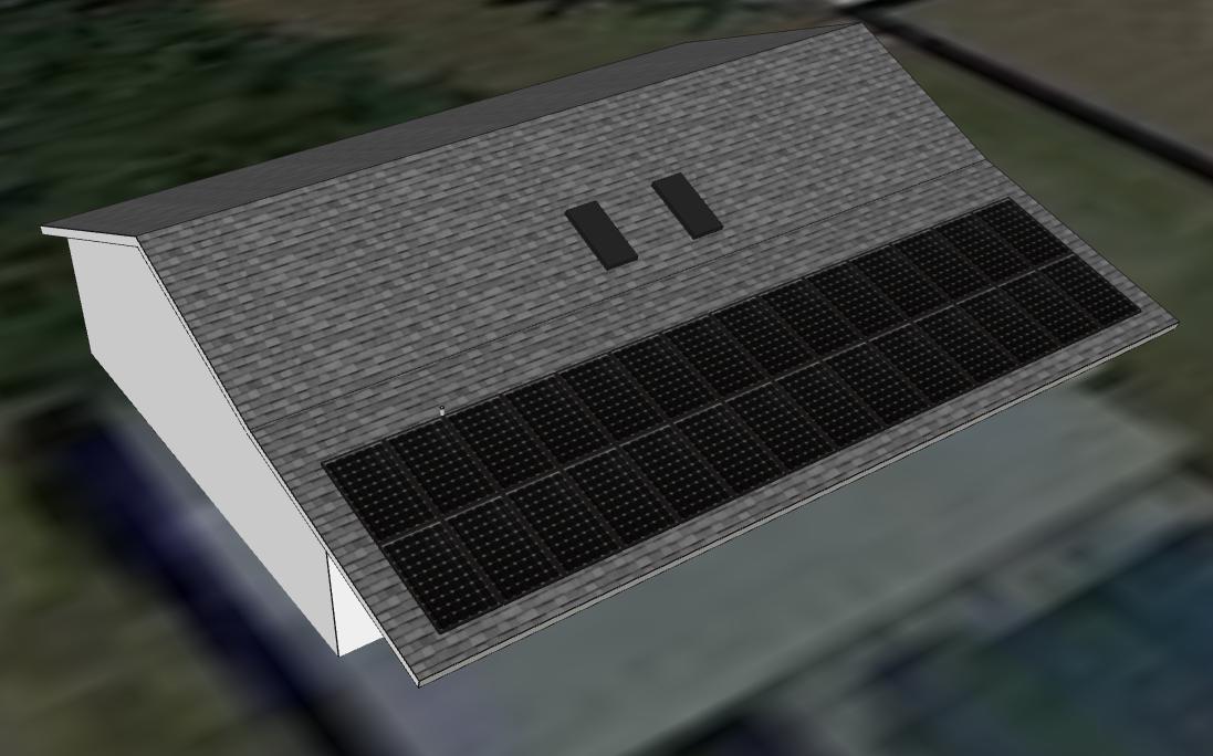 2D Representation of 3D Solar Panel Computer Model