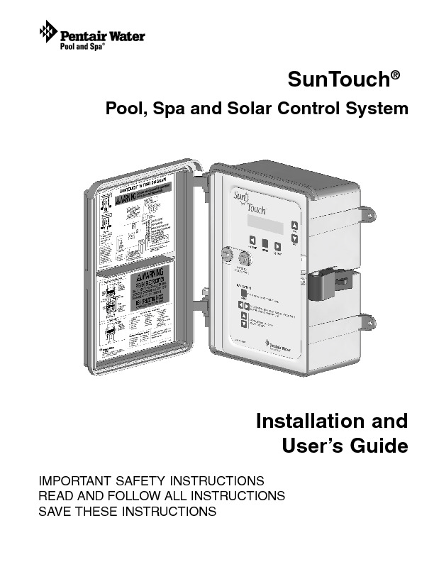 Pentair SunTouch Installation and Owner's Manual