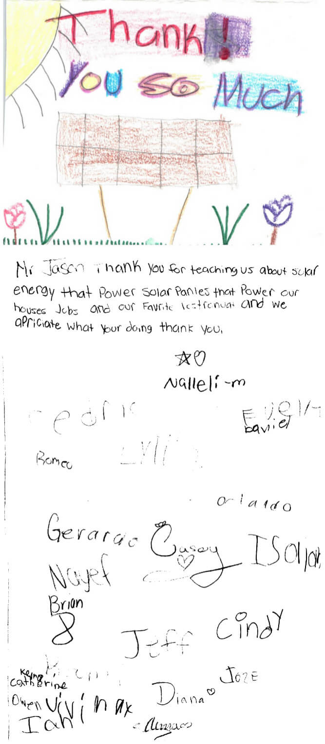 Thank You Card from the Solar Explorers Summer Camp at Naples Botanical Garden in Naples, FL