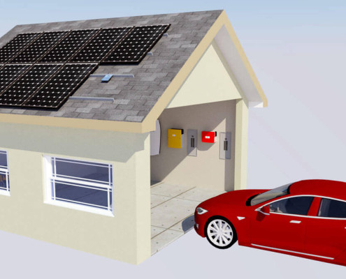 Tesla Model S enters garage powered by Enphase microinverters, both Internet connected devices.
