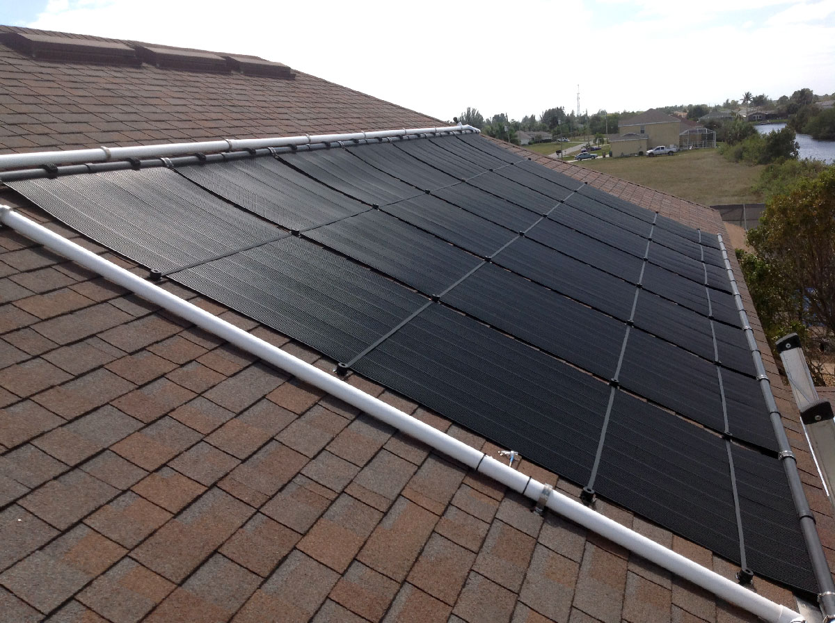 Cape Coral Solar Pool Heater Installation on Two-Story Roof