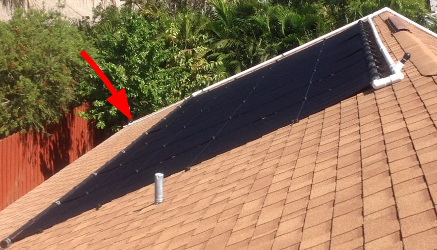 A manual drain is installed in this system because the plumbing goes over the ridge and panels cannot drain by gravity.